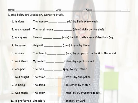 Passive Voice Study Worksheet By Eslfungames Teaching Resources Tes