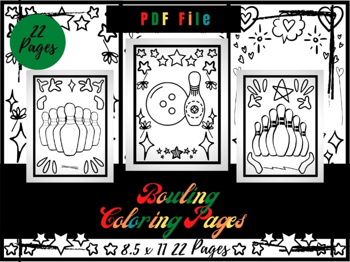 Bowling Colouring Pages For Kids, Bowling Game Printable Colouring Sheets PDF