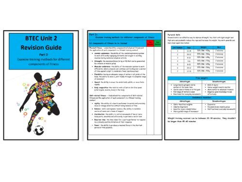 BTEC Level 3- Unit 2 - Revision Notes/Guide - Part D Training Methods for Components of Fitness