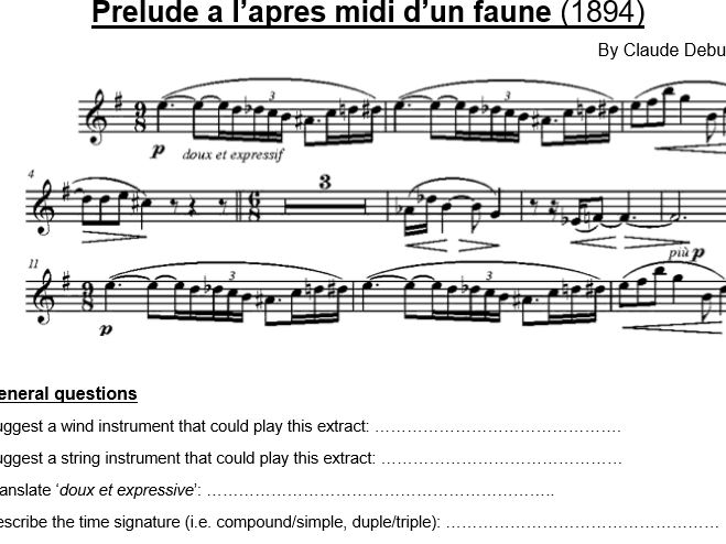 Score excerpts and questions (famous works)