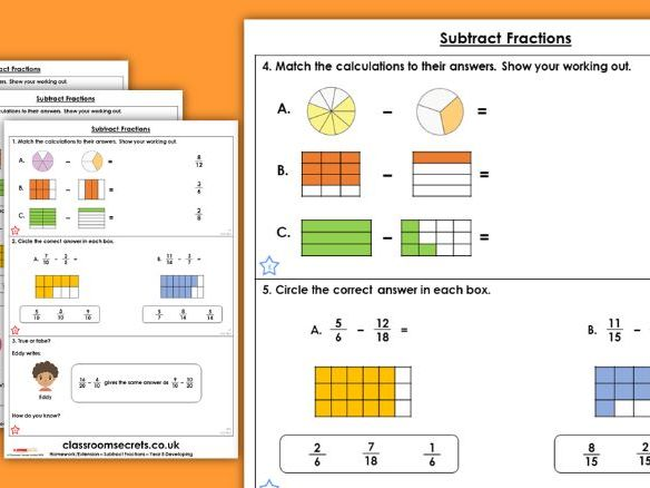 Year 5 Subtract Fractions Spring Block 2 Maths Homework Extension