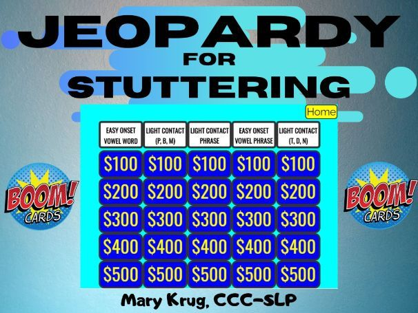 JEOPARDY for STUTTERING- BOOM Cards!