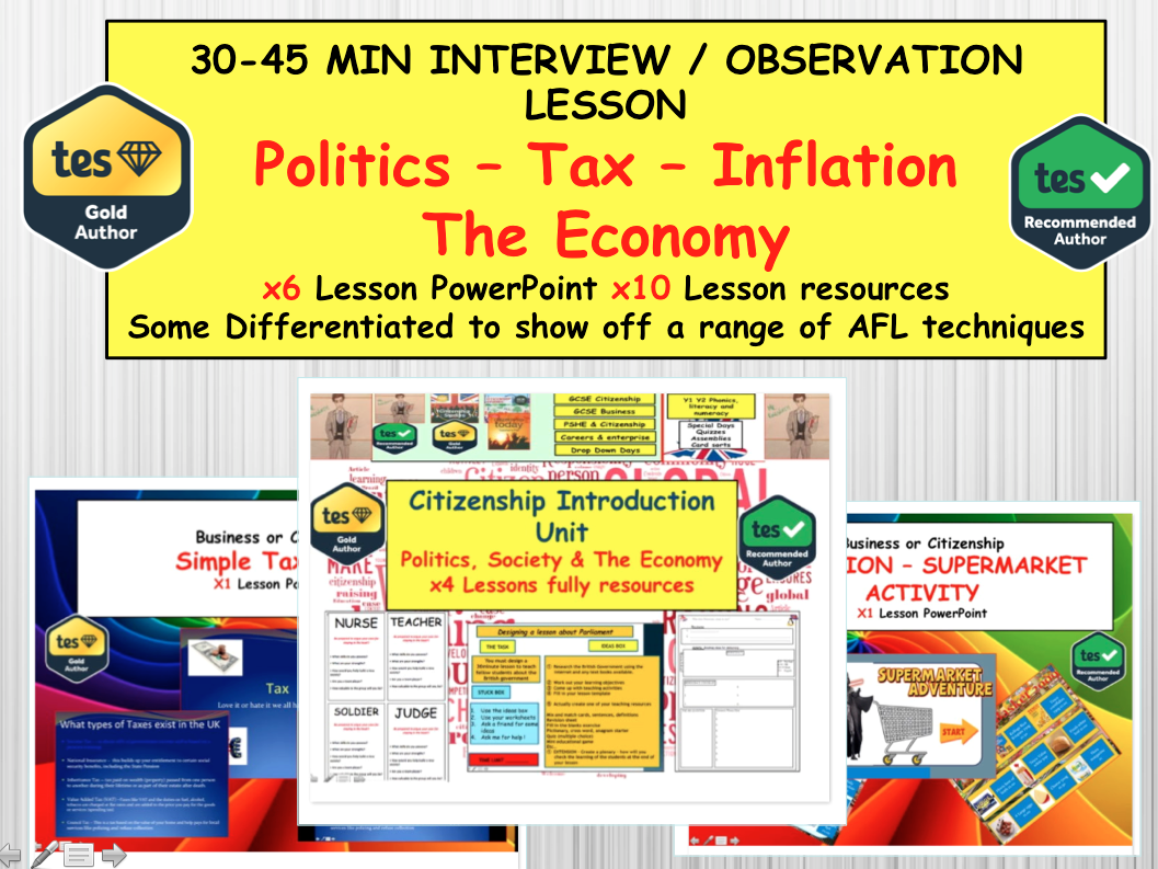 Politics the Economy and Taxation Unit of Work - Citizenship and PSHE
