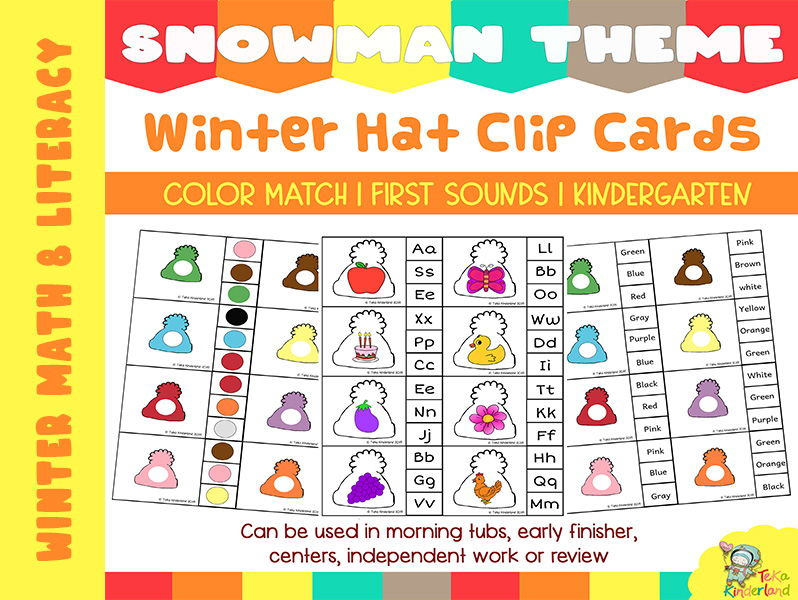 Snowman Hats Color and Initial Sounds Match Clip Cards