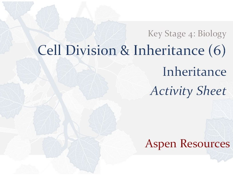 Inheritance  ¦  Key Stage 4  ¦  Biology  ¦  Cell Division & Inheritance (6)  ¦  Activity Sheet