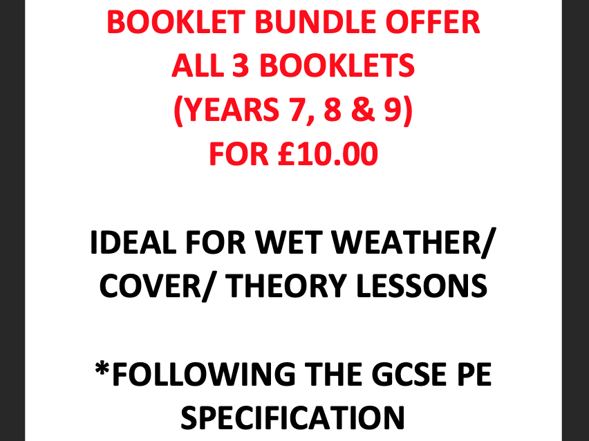 Yr.7, 8 & 9 Booklet & PowerPoint BUNDLE for Wet Weather/ Cover/ Theory Lessons - GCSE PE