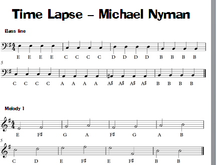 Minimalism / Ground Bass Keyboard Task - Time Lapse - Michael Nyman KS3 KS4 Sheet Music