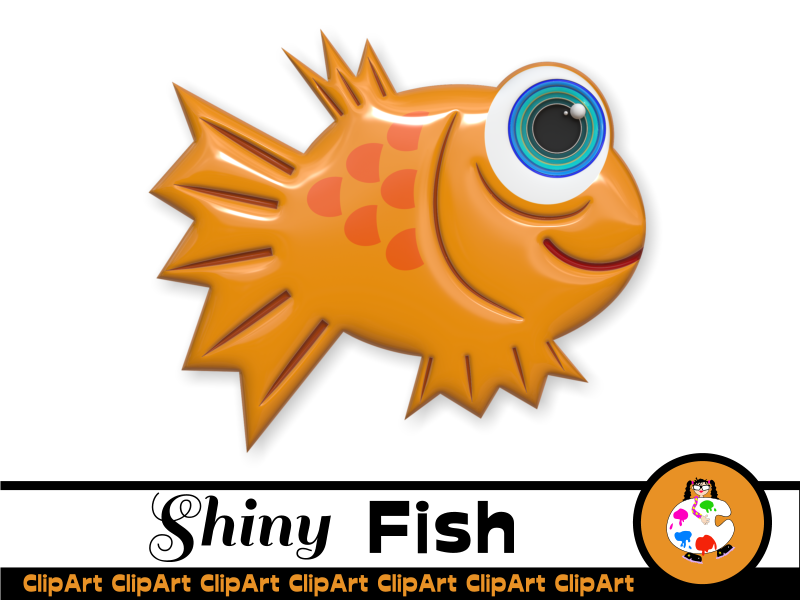 3d Shiny Cartoon Fish Clip Art