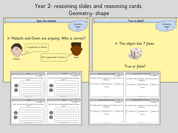 reasoning slides and cards year 2 geometry shape by