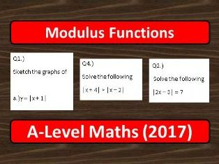 A-Level Maths (2017) Modulus Functions