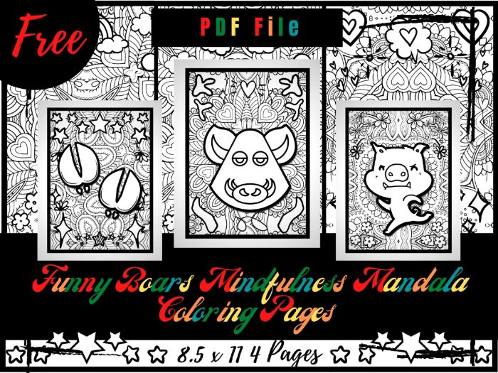 FREE Funny Boars Mindfulness Mandala Coloring Pages, FREE Animals Coloring Printable Sheets PDF
