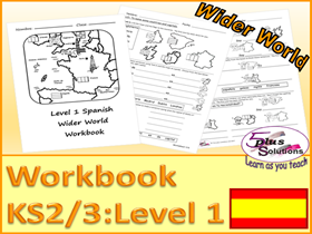 PRIMARY SPANISH COPIABLE WORKBOOK (KS2/3):UK countries, France, Spain, nationality,compass, towns,