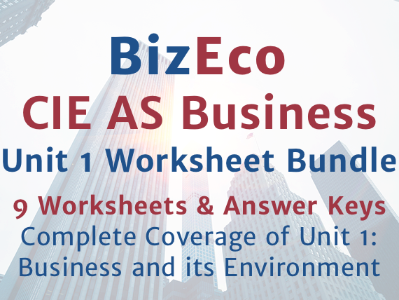 CIE AS Business Unit 1 Complete Worksheet Bundle with Answers