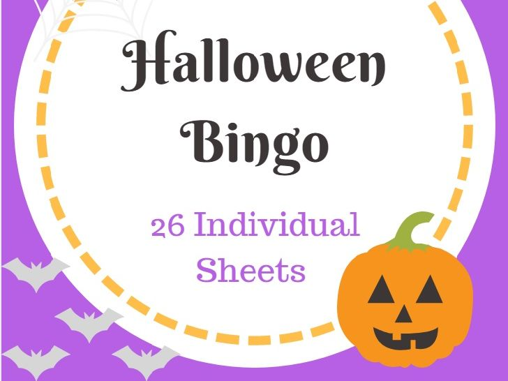 Halloween Bingo Holiday Themed (26 Individual Sheets)