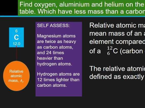 Relative formula mass chemistry / combined science complete lesson. OCR new spec ref C2.1c