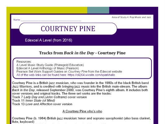 Edexcel Music A Level (from 2016) Courtney Pine