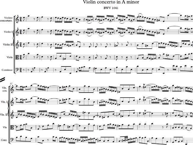 Bach Violin Concerto in a minor BWV 1041 Complete Score - Sibelius file