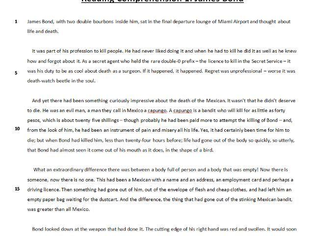 Fiction Reading Comprehension Task