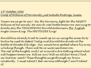 KS2 Battle of Hastings Diary example.
