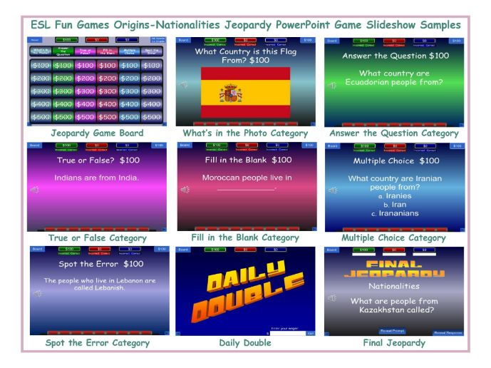 Origins-Nationalities Jeopardy PowerPoint Game Slideshow