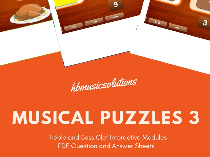 Musical Puzzles 3 Treble and Bass Clef Interactive and Worksheets