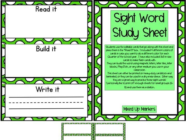 Sight Word Study Sheet