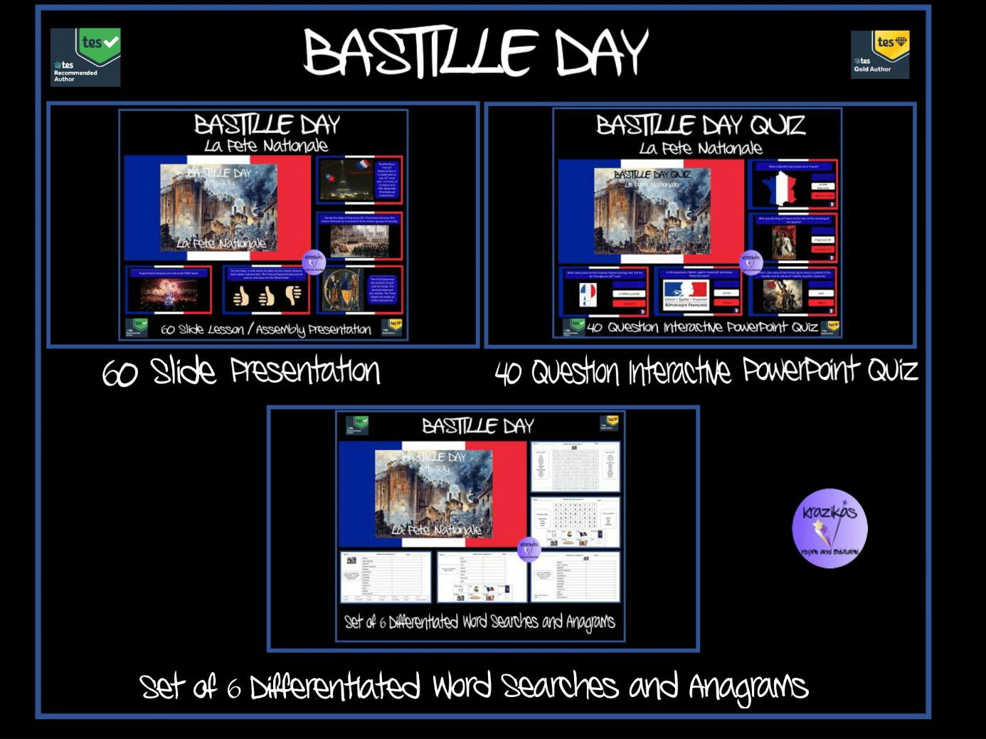 Bastille Day/La Fête Nationale PowerPoint Presentation, 40 Question Quiz, Set of 6 Differentiated Word Searches and Anagrams