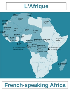 Map Of Africa Countries Labeled.Afrique Francophone Map French Speaking Africa