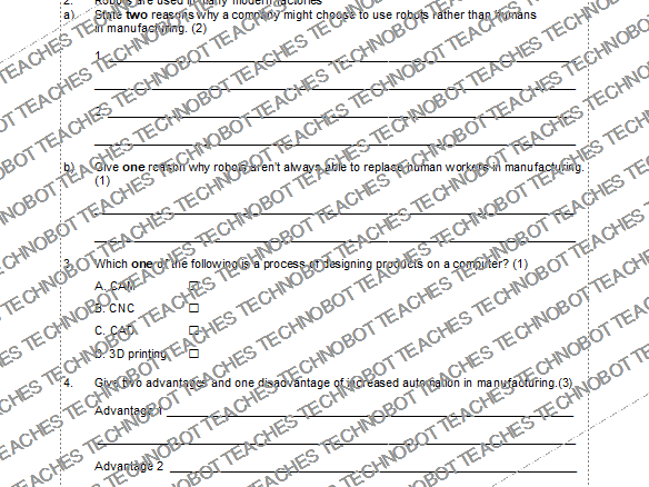 Automated manufacturing worksheet