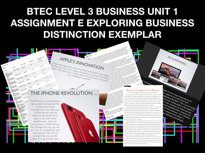 BTEC LEVEL 3 BUSINESS UNIT 1 ASSIGNMENT E EXPLORING BUSINESS DISTINCTION EXEMPLAR