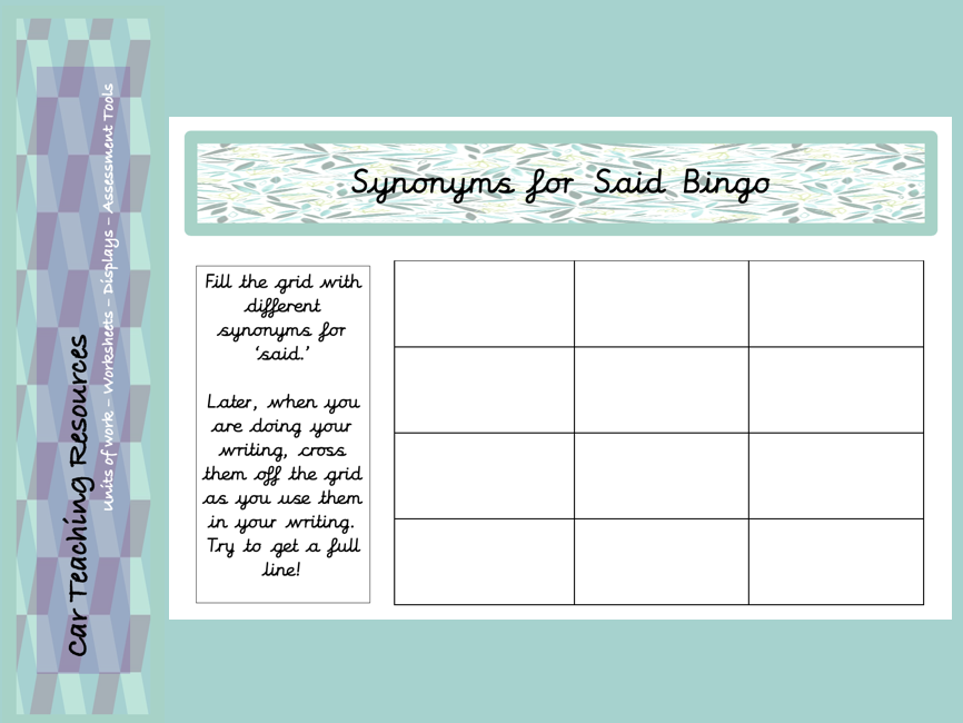 Synonyms For Said Bingo