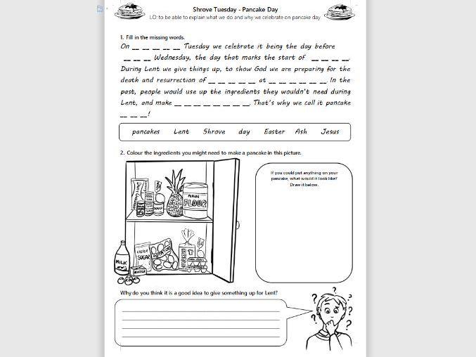 KS1/LKS2 RE Shrove Tuesday Pancake Day Activity Worksheet SEN