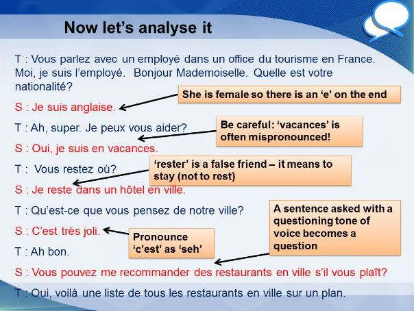French GCSE Foundation tourist office role play