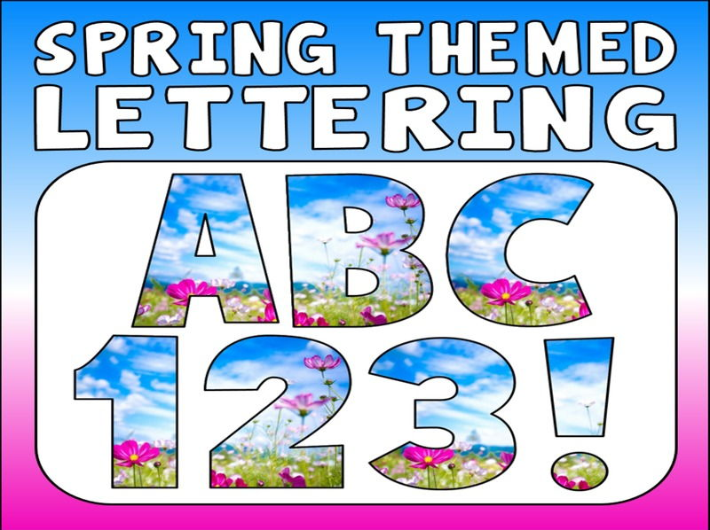 SPRING  THEMED DISPLAY LETTERING- LETTERS, NUMBERS, PUNCTUATION- SEASONS WINTER