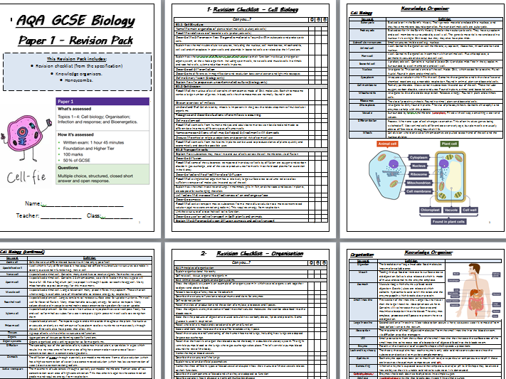 AQA GCSE Biology Paper 1 Revision- Exam Questions, Mark Schemes, Revision Checklist, Knowledge Organisers and Recall Maps.