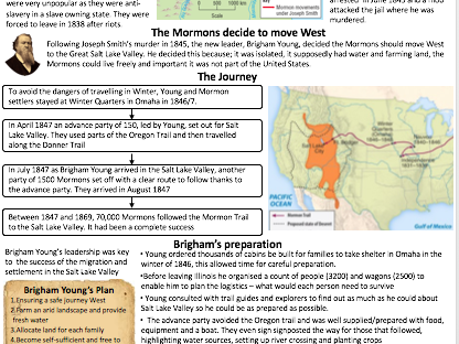 9-1 GCSE American West - The Mormon Migration Revision/Summary Sheet
