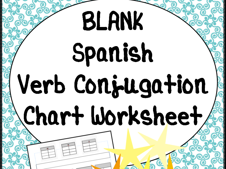 blank t chart verb conjugation worksheet for spanish class by