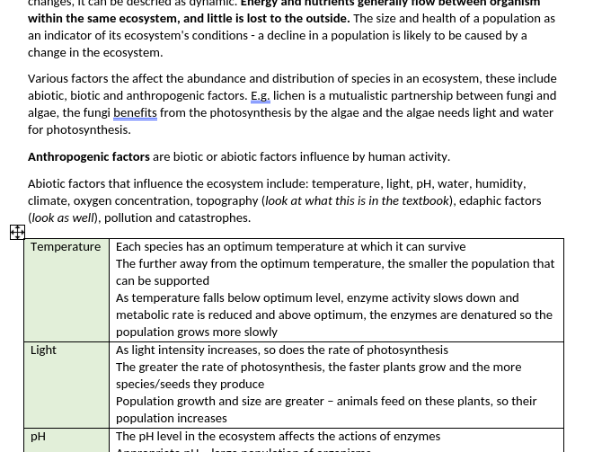 Edexcel A-level Biology Topic 5 'On the Wild Side' notes