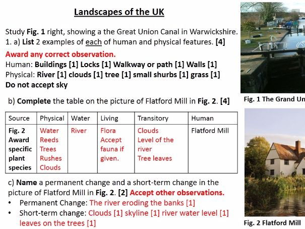 NEW OCR B Enquiring Minds DISTINCTIVE LANDFORMS 2017 20) End of Unit Exam WITH ANSWERS