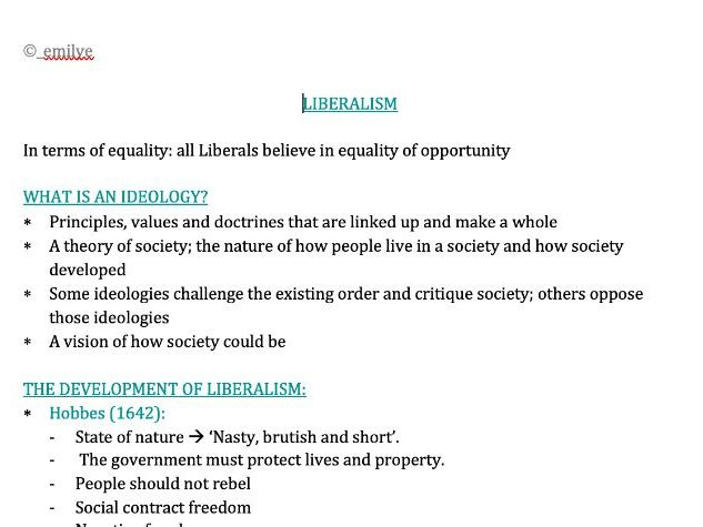 Liberalism - Edexcel Politics A-Level 9PL0