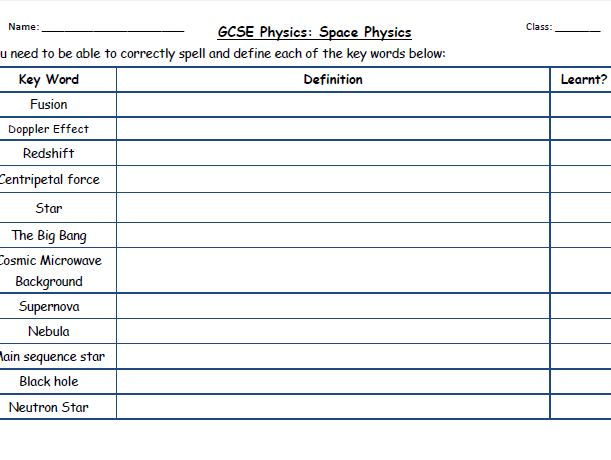 AQA New Physics 2018: Revision checklist - Space