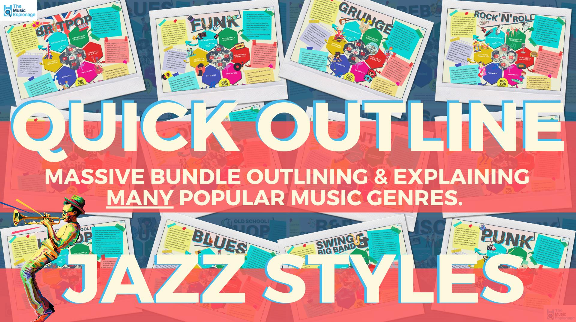 Music Genres Quick Outline-MEGA BUNDLE-Jazz Styles