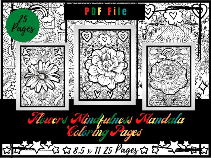 Flowers Mindfulness Mandala Colouring Pages, Printable Coloring Sheets PDF