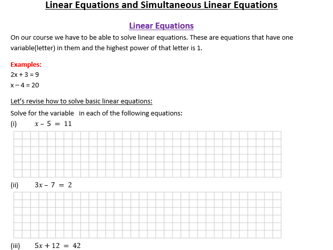 Linear & Simultaneous Equations Booklet of Notes/Practice Questions for Teaching/Revising/Grinds