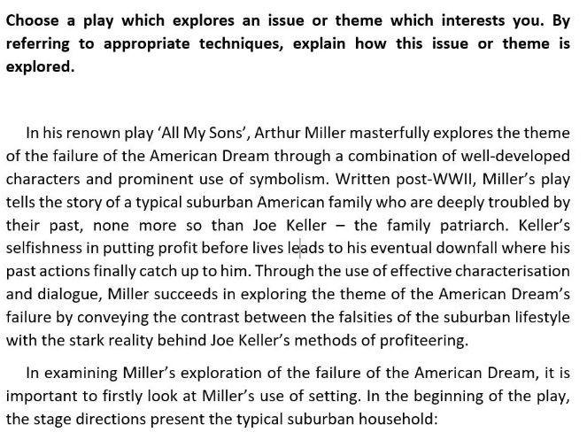 NAT 5 Critical Essay: All My Sons - Arthur Miller (marked 18/20)