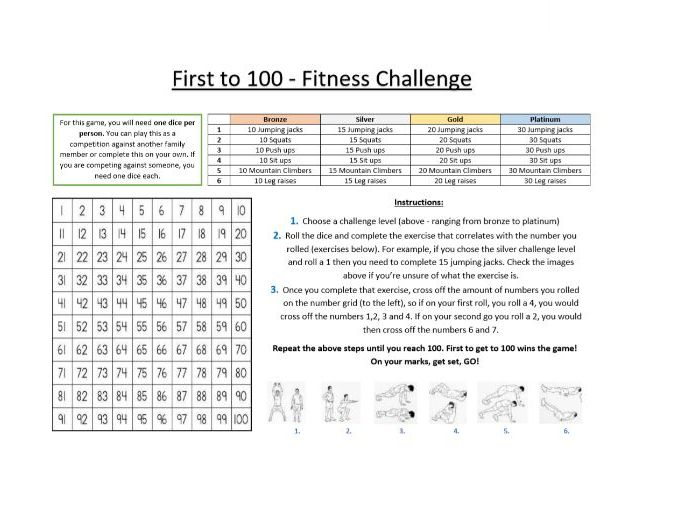 Core PE - Lockdown fitness resource - First to 100