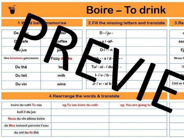 Present tense boire & drinks: Remote lesson