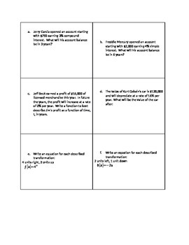 Exponential Functions Relay Race Review