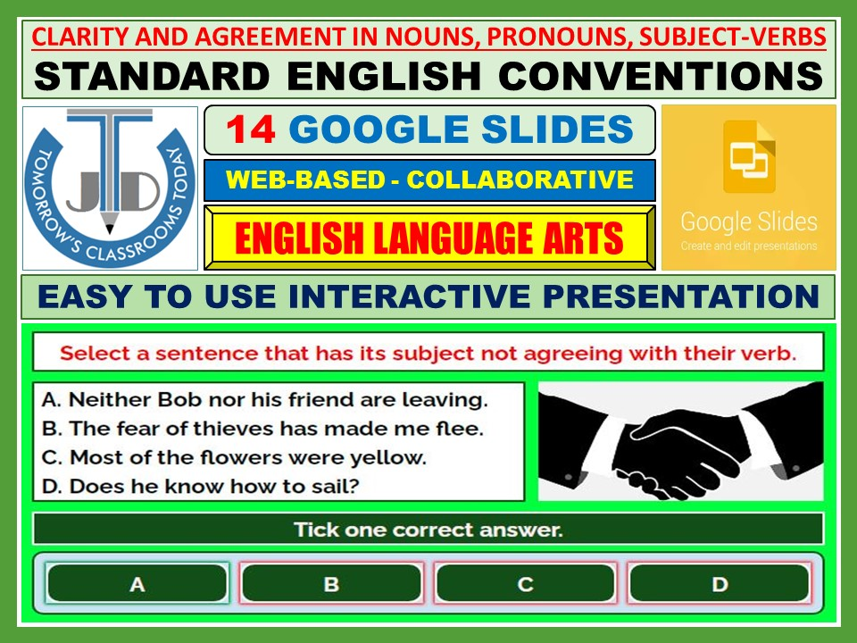 CLARITY AND AGREEMENT IN NOUNS, PRONOUNS, SUBJECT-VERBS: 14 GOOGLE SLIDES