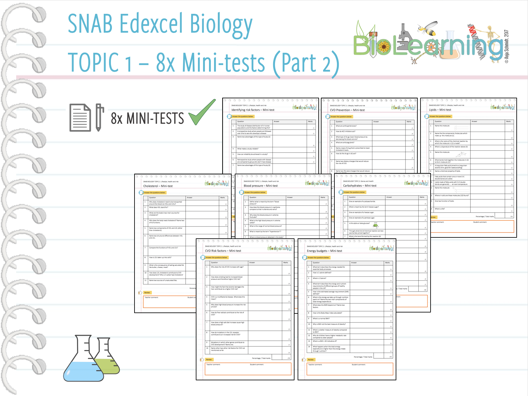 8x Mini-tests (Part 2) for SNAB Biology Topic 1: Lifestyle-Health and Risk